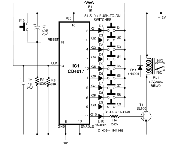 Nte Electronics Circuit  Simple Electronic Code Lock